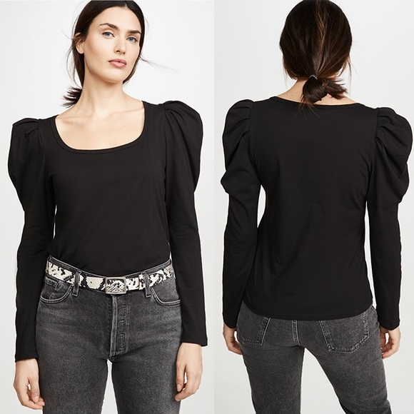 A.L.C. Sewell Puff Long Sleeve T-Shirt XS NWT Blk